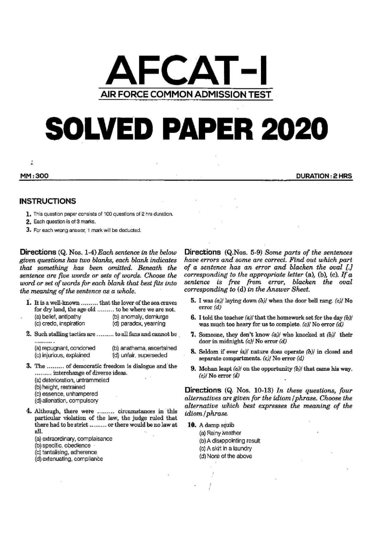 AFCAT 1 2020 Question Paper 01