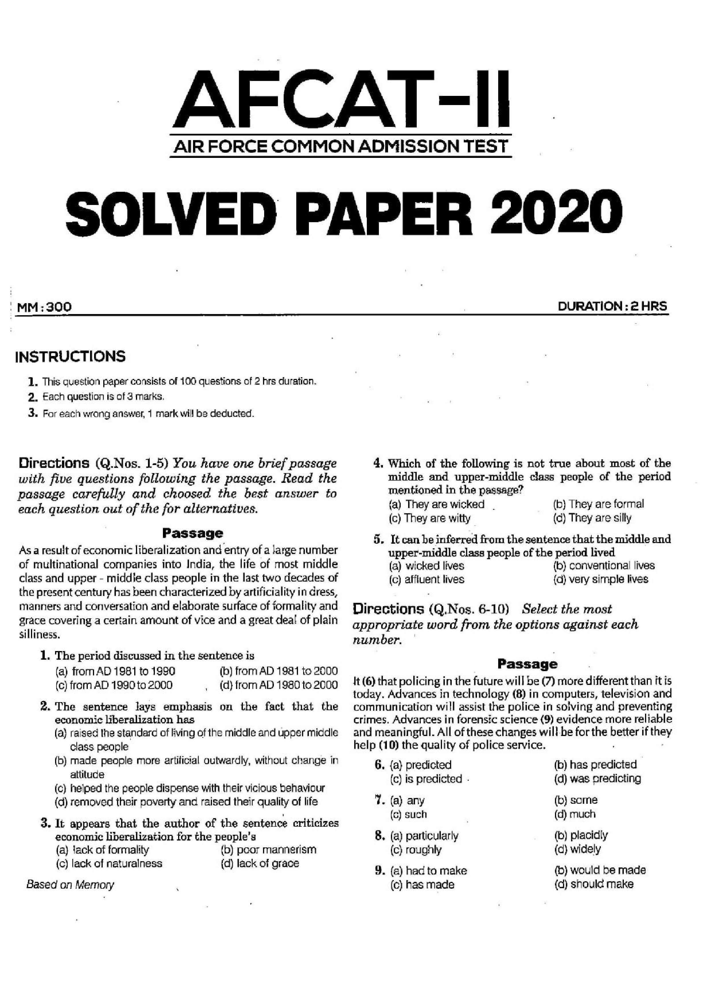 AFCAT 2 2020 Question Paper 01