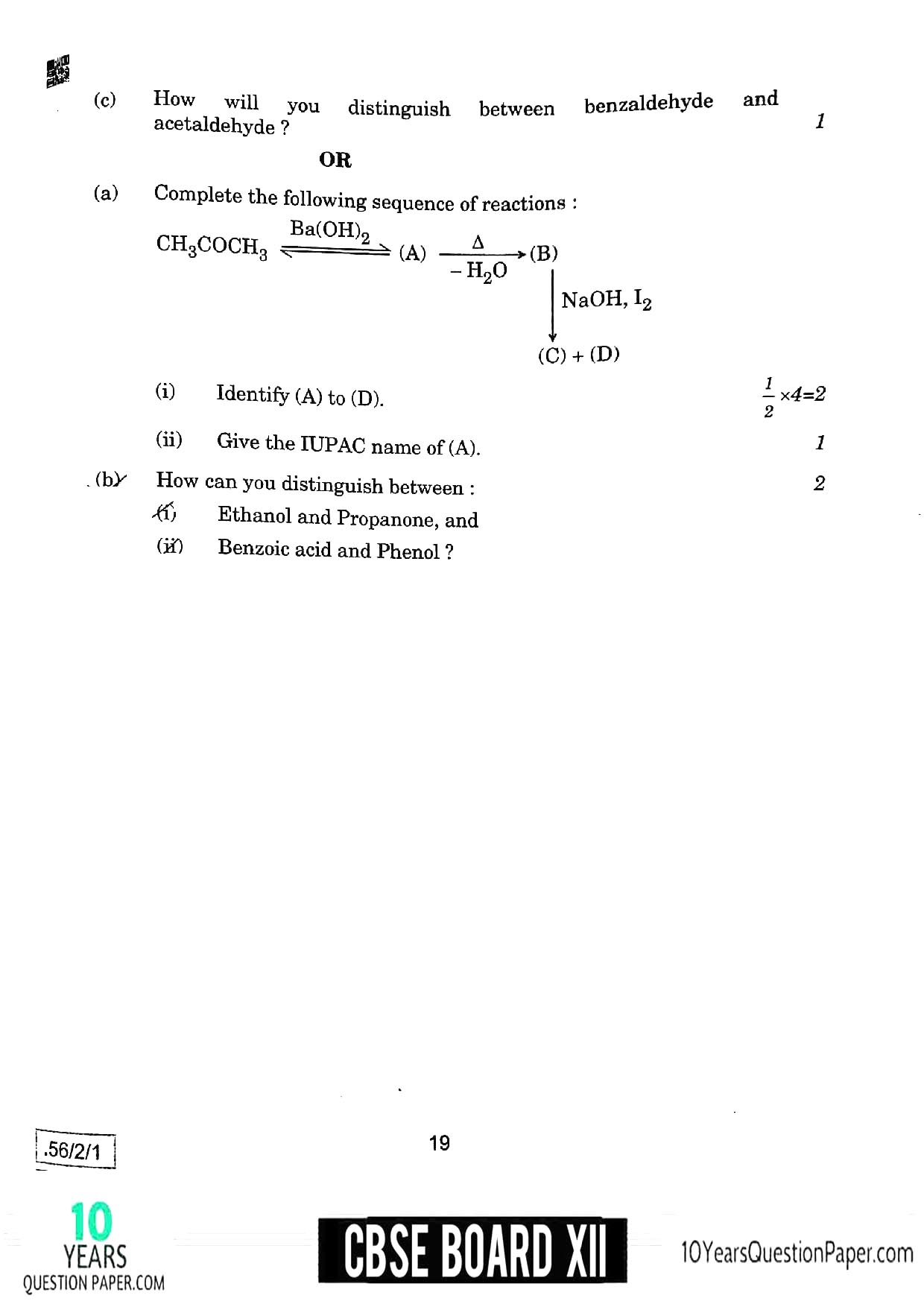 CBSE Class 12 Chemistry 2020 Question Paper 10