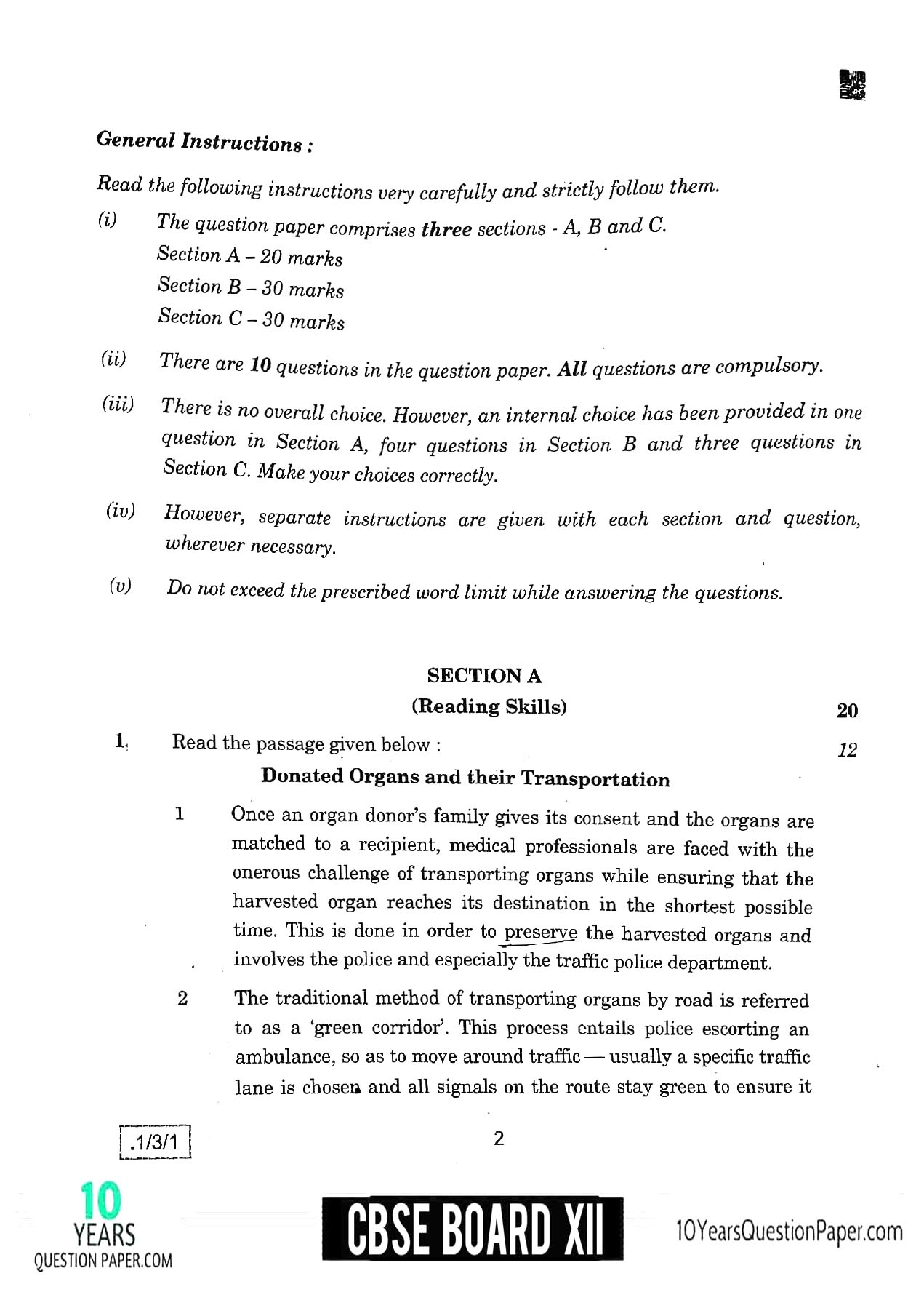 CBSE Class 12 English 2020 Question Paper 02