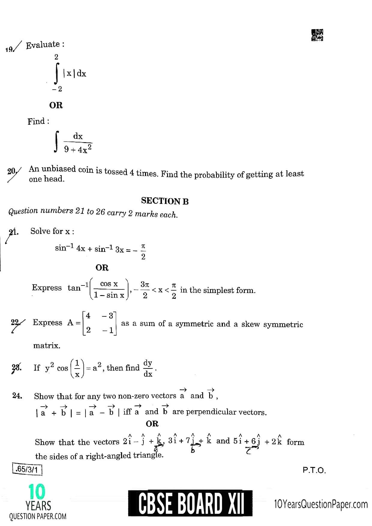 CBSE Class 12 Maths 2020 Question Paper 06