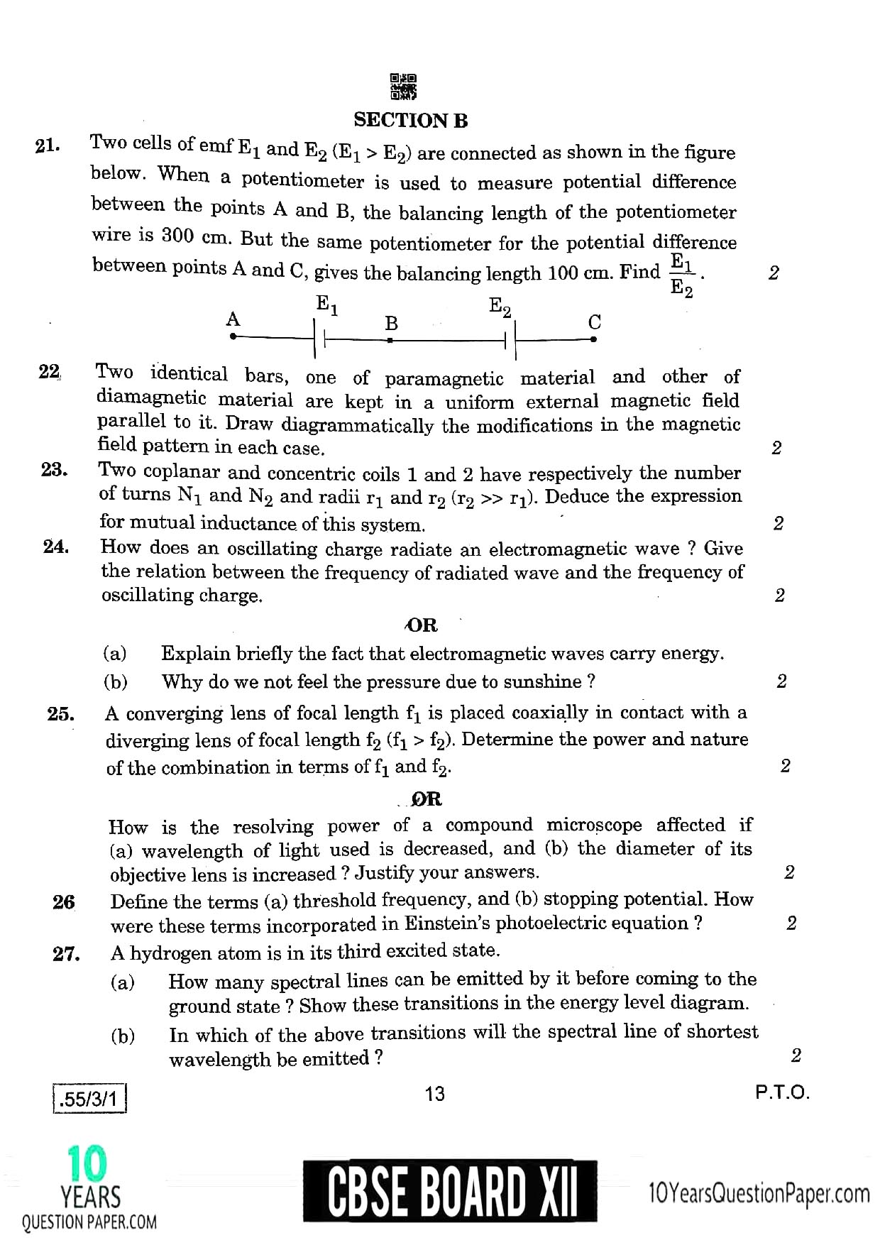 CBSE Class 12 Physics 2020 Question Paper 06