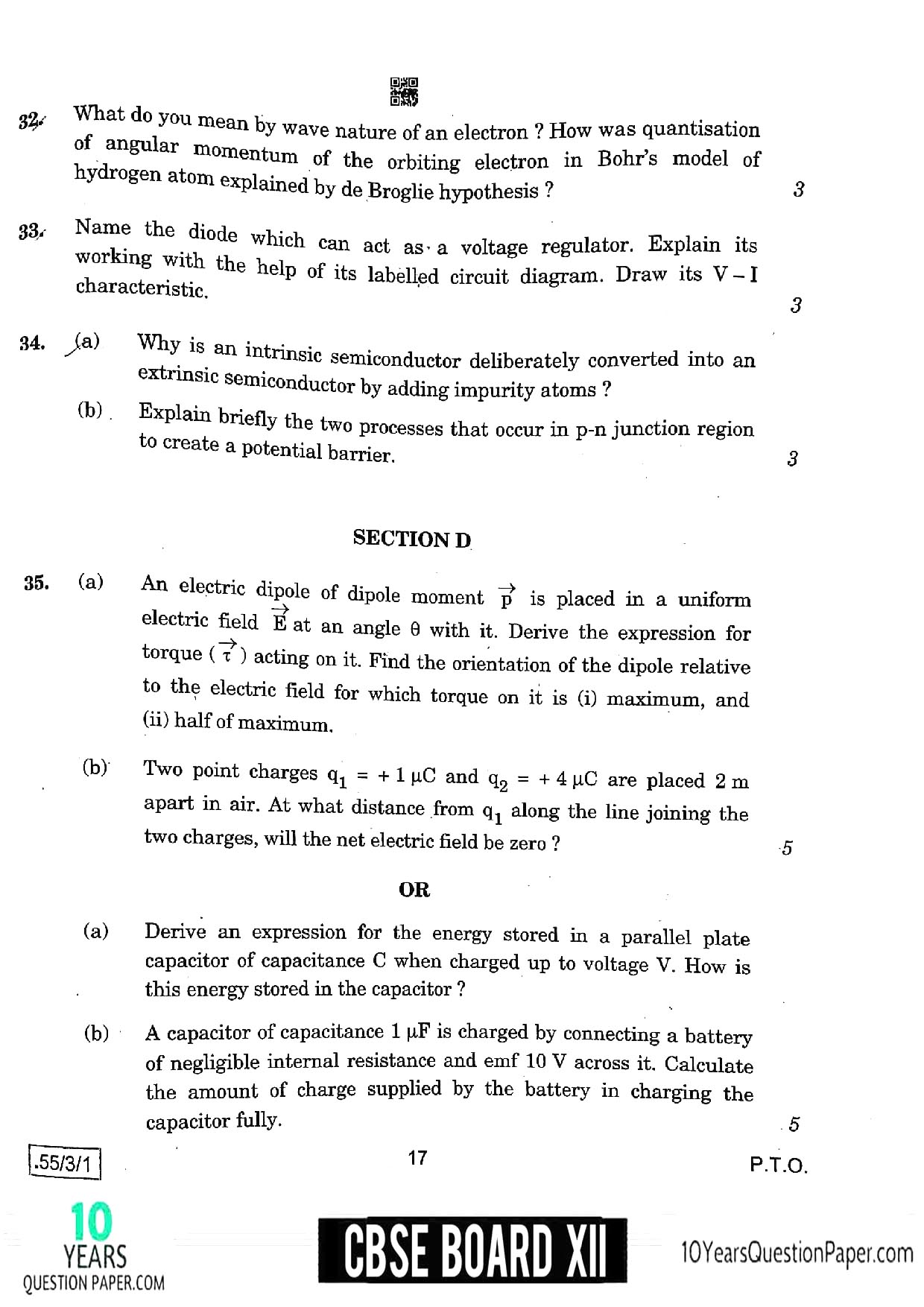 CBSE Class 12 Physics 2020 Question Paper 08