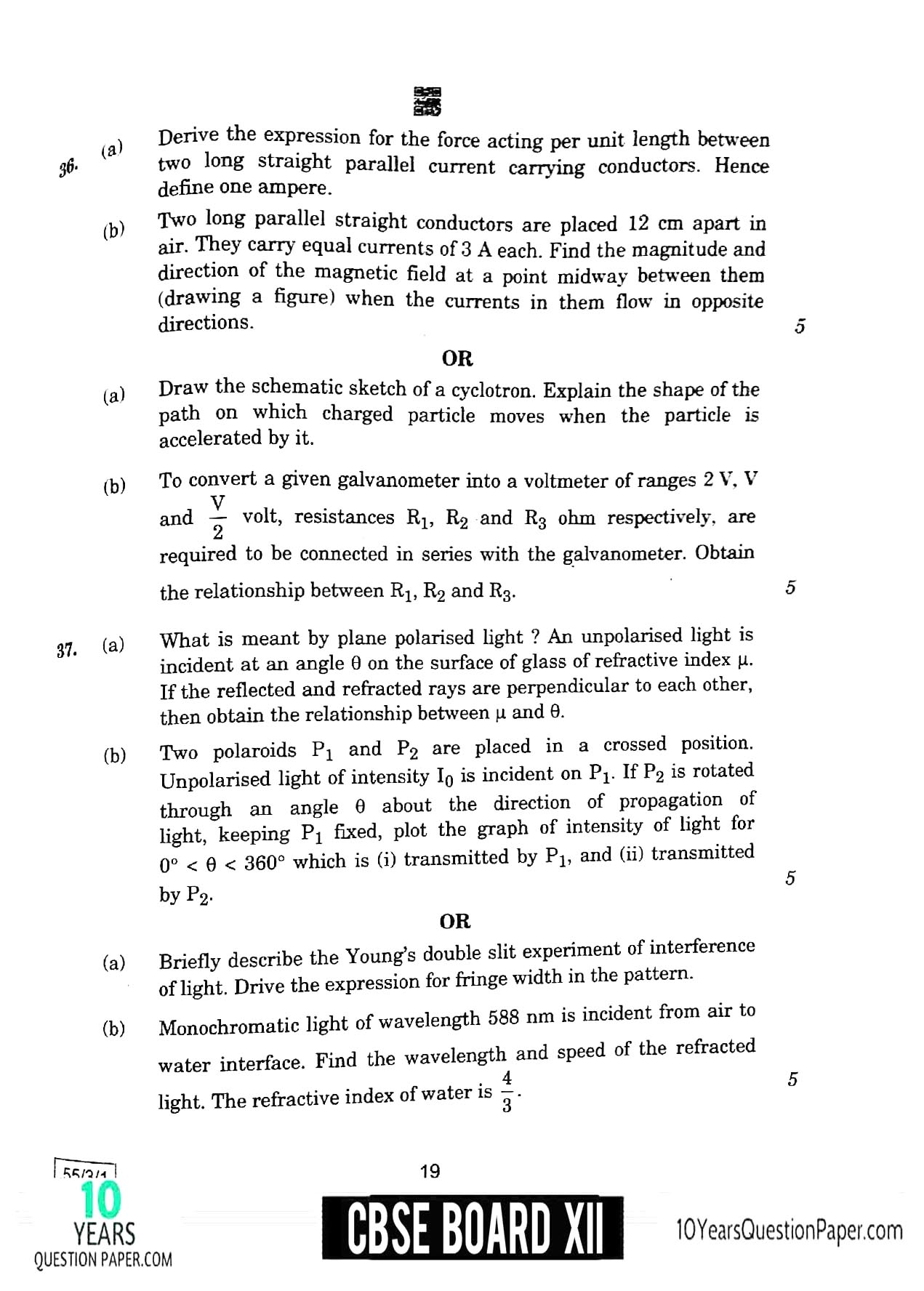 CBSE Class 12 Physics 2020 Question Paper 09