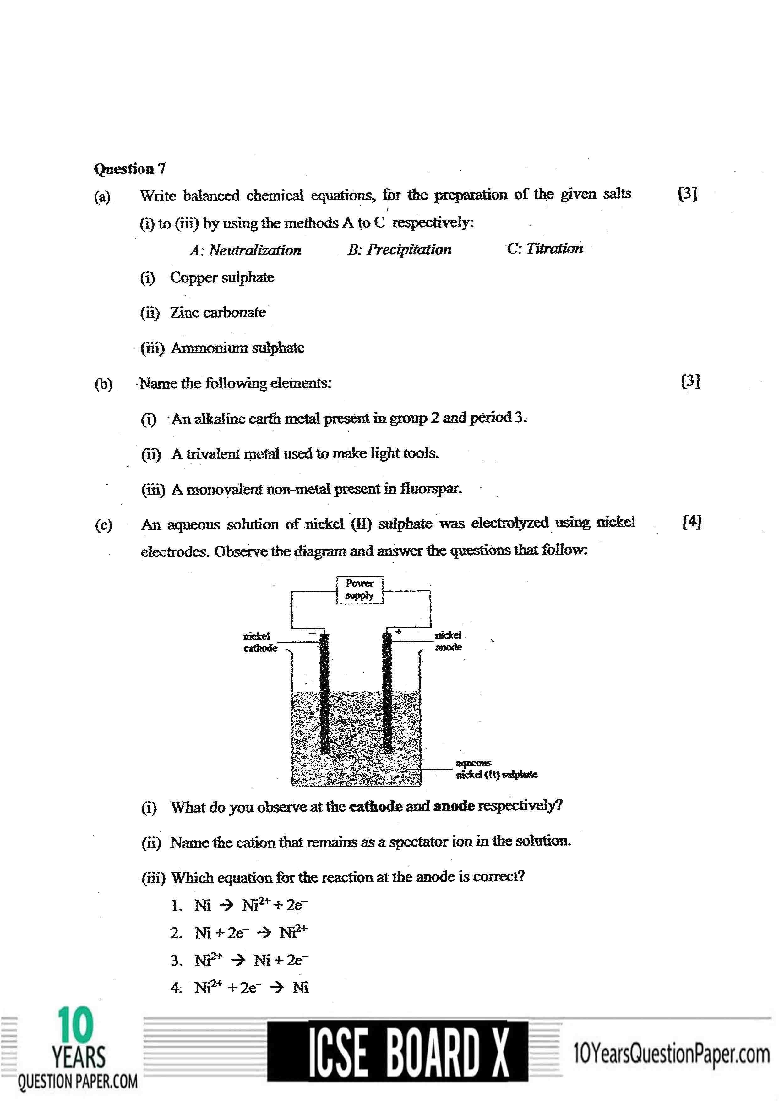 ICSE Class 10 Chemistry 2020 Question Paper