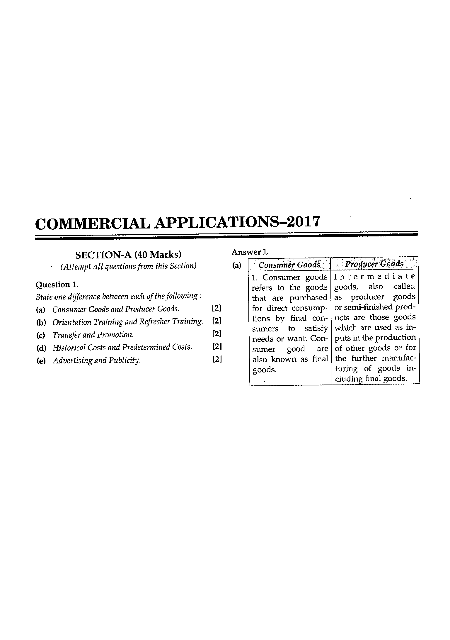 ICSE Class 10 Commercial Applications 2017 Question Paper