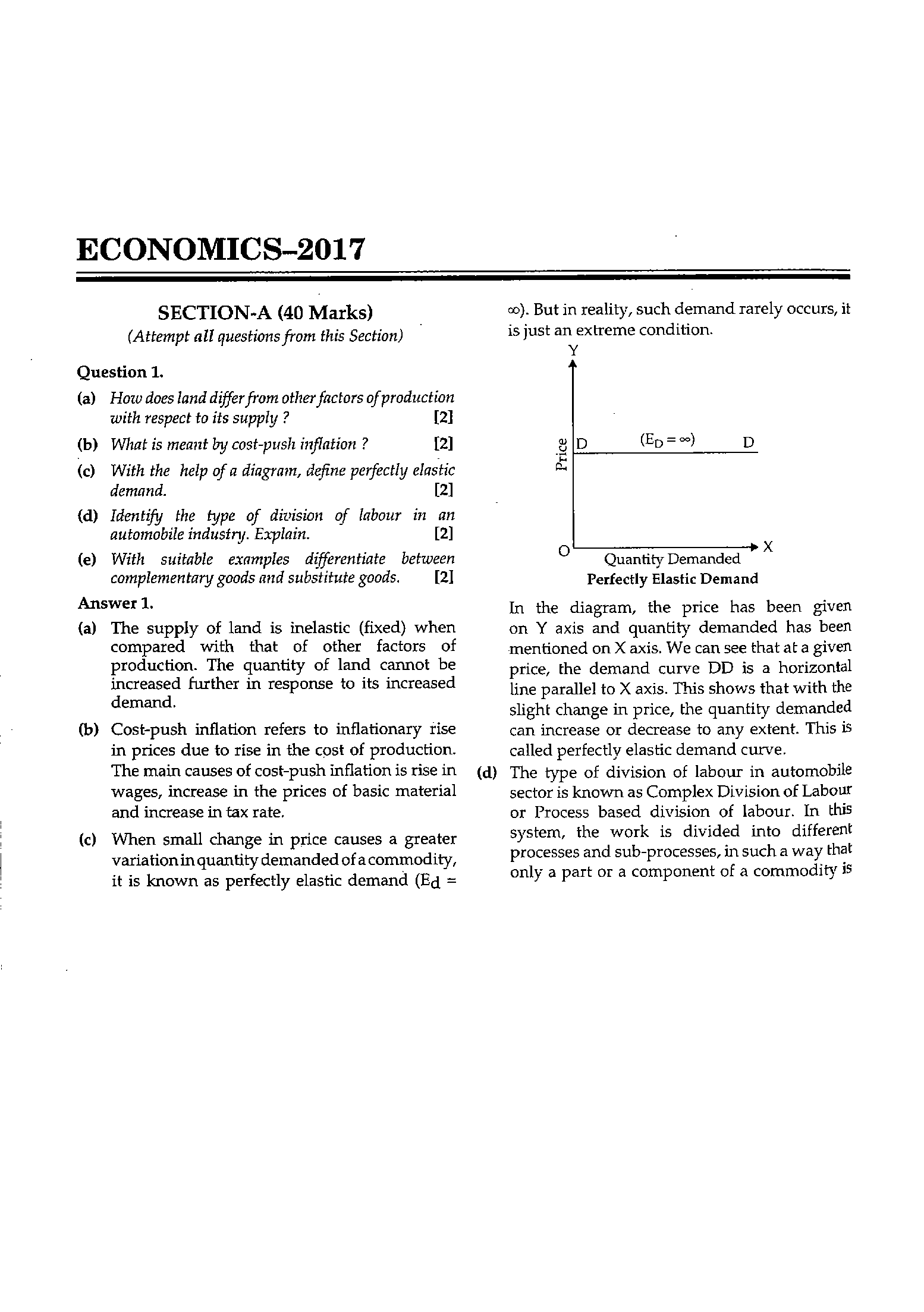 ICSE Class 10 Economics 2017 Question Paper