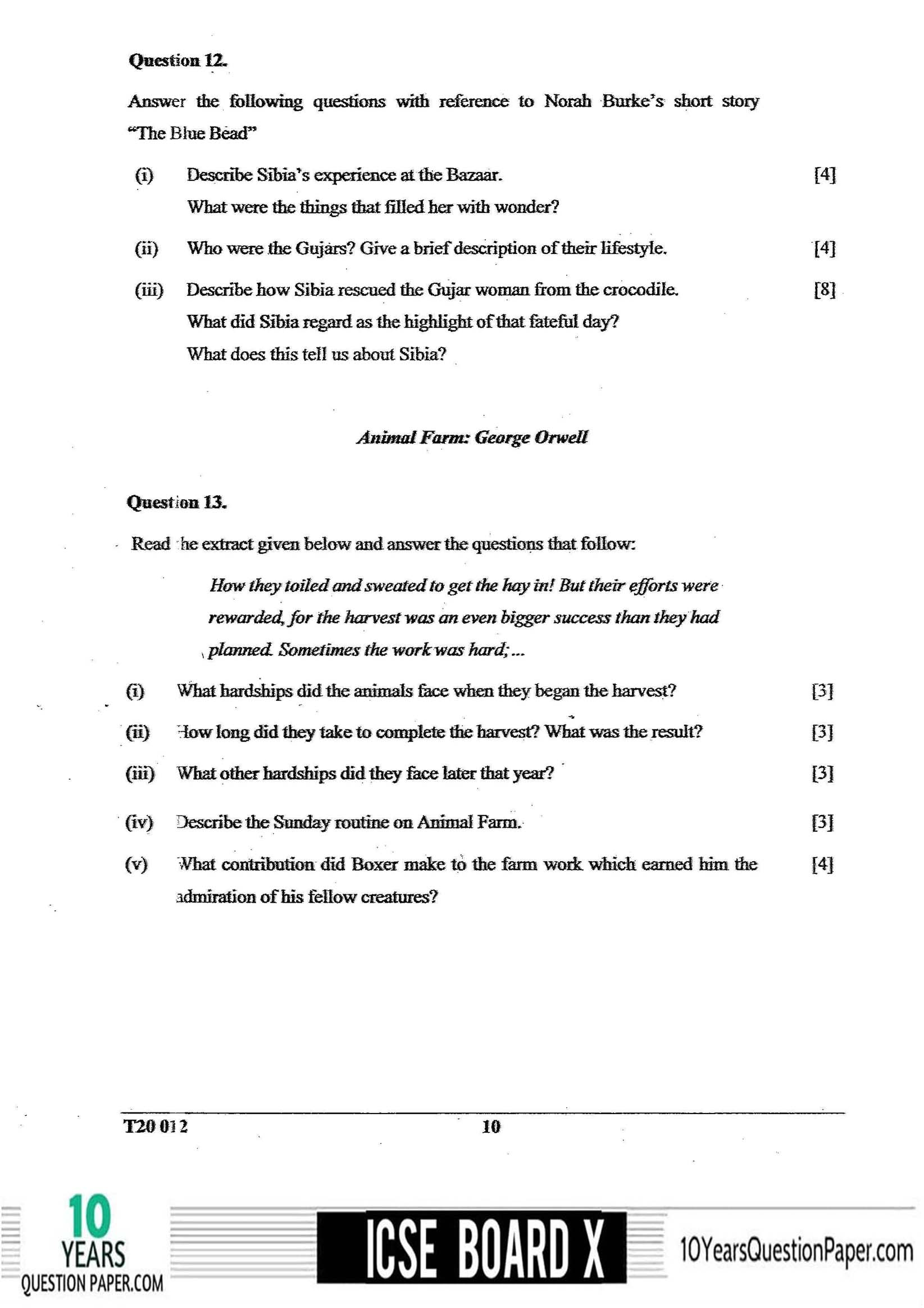 ICSE Class 10 English Literature 2020 Question Paper