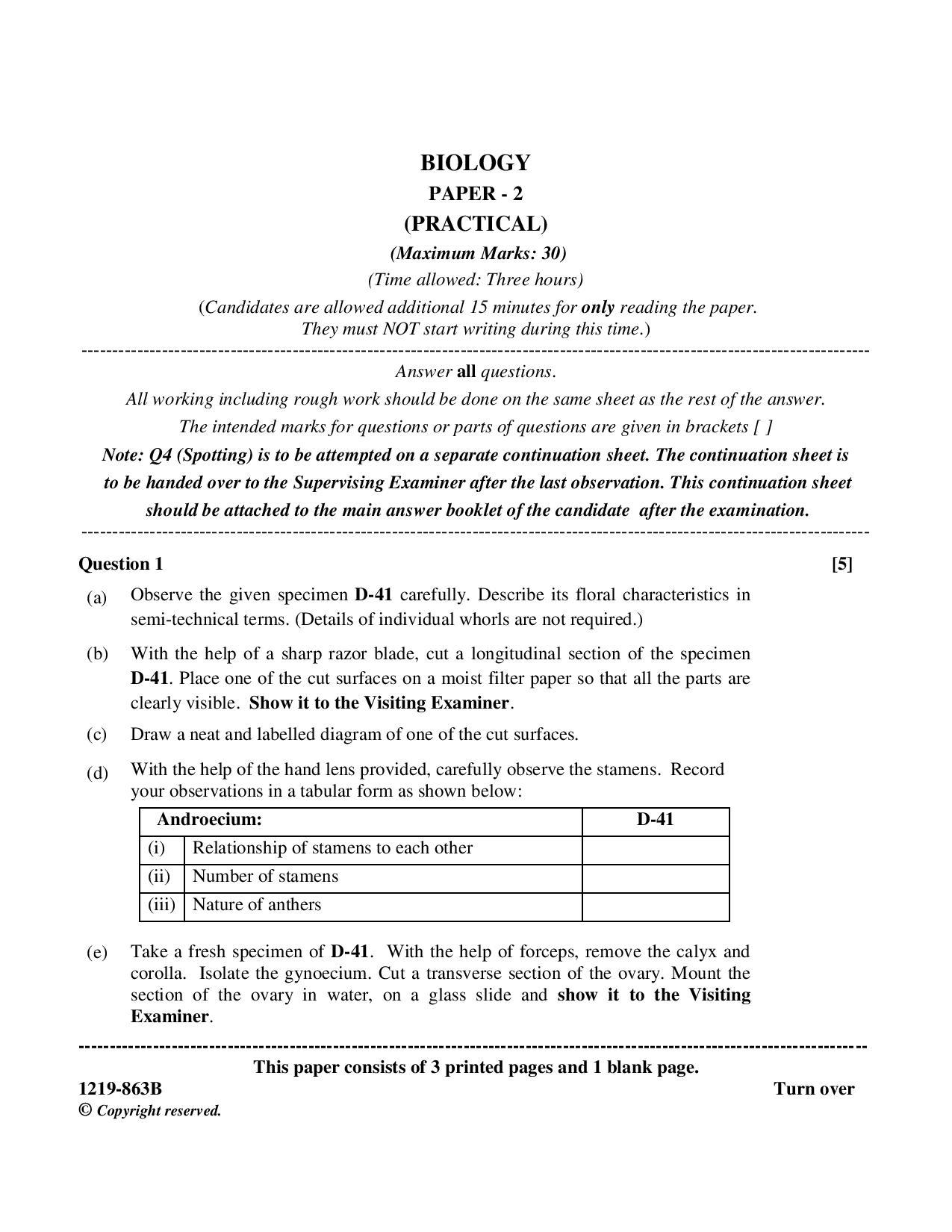 ISC Class 12 Biology practical 2019 Question Paper