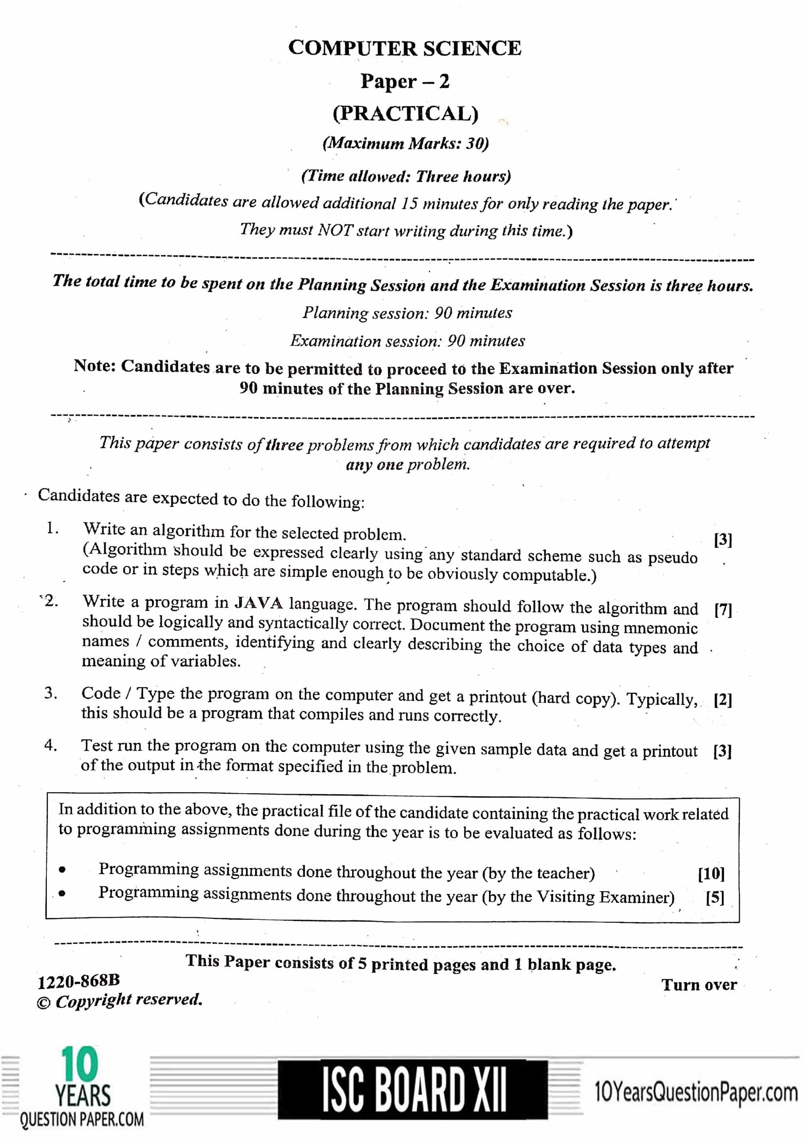 ISC Class 12 Computer Science Practical 2020 Question Paper
