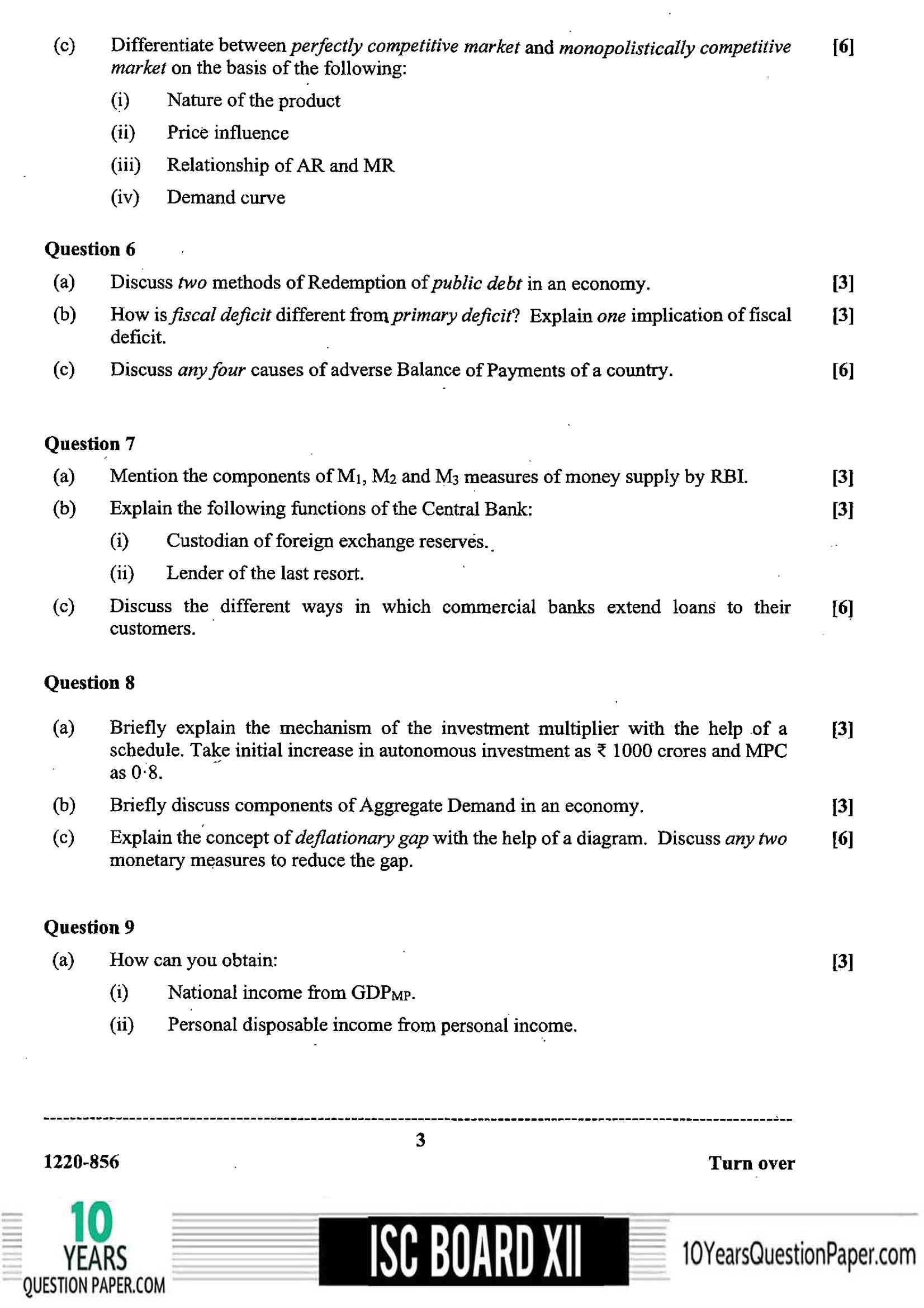 ISC Class 12 Economics 2020 Question Paper