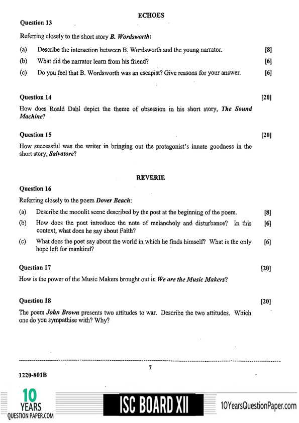 ISC Class 12 English Literature 2020 Question Paper
