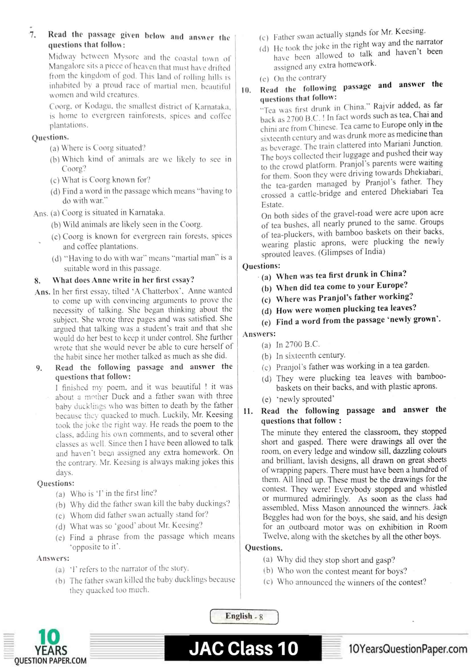 JAC class 10 english 2021 solved sample paper 08