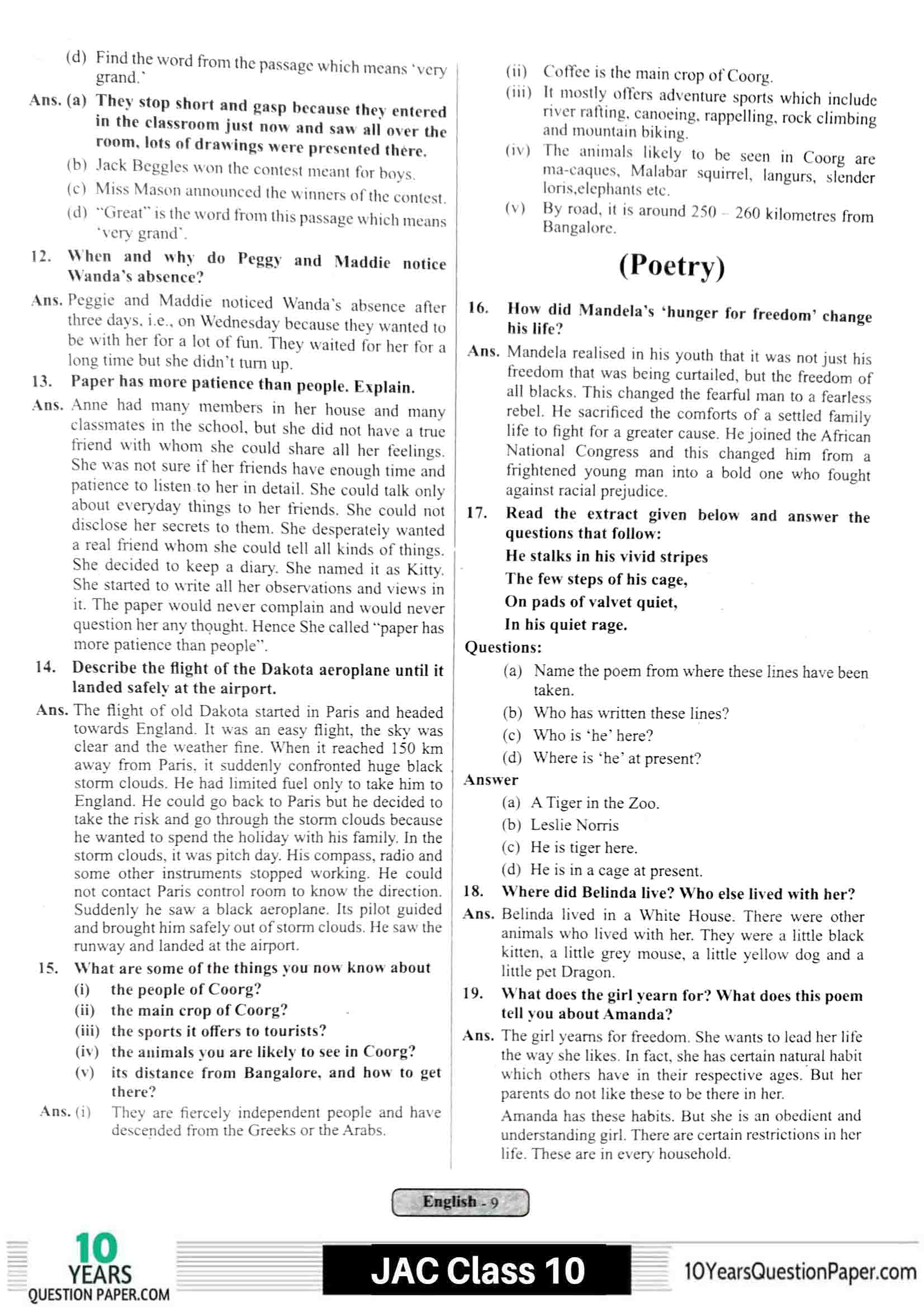 JAC class 10 english 2021 solved sample paper 09