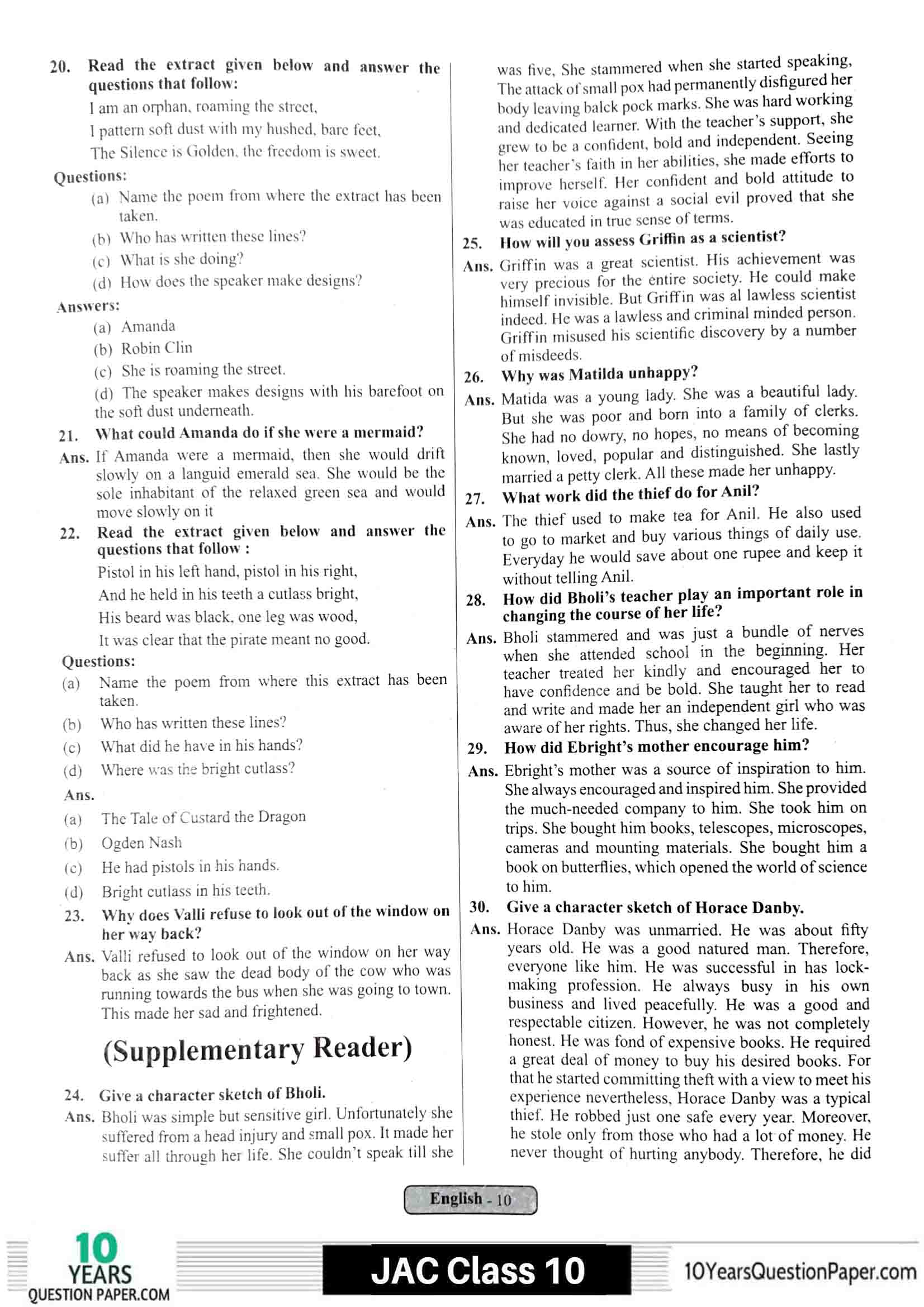 JAC class 10 english 2021 solved sample paper 10