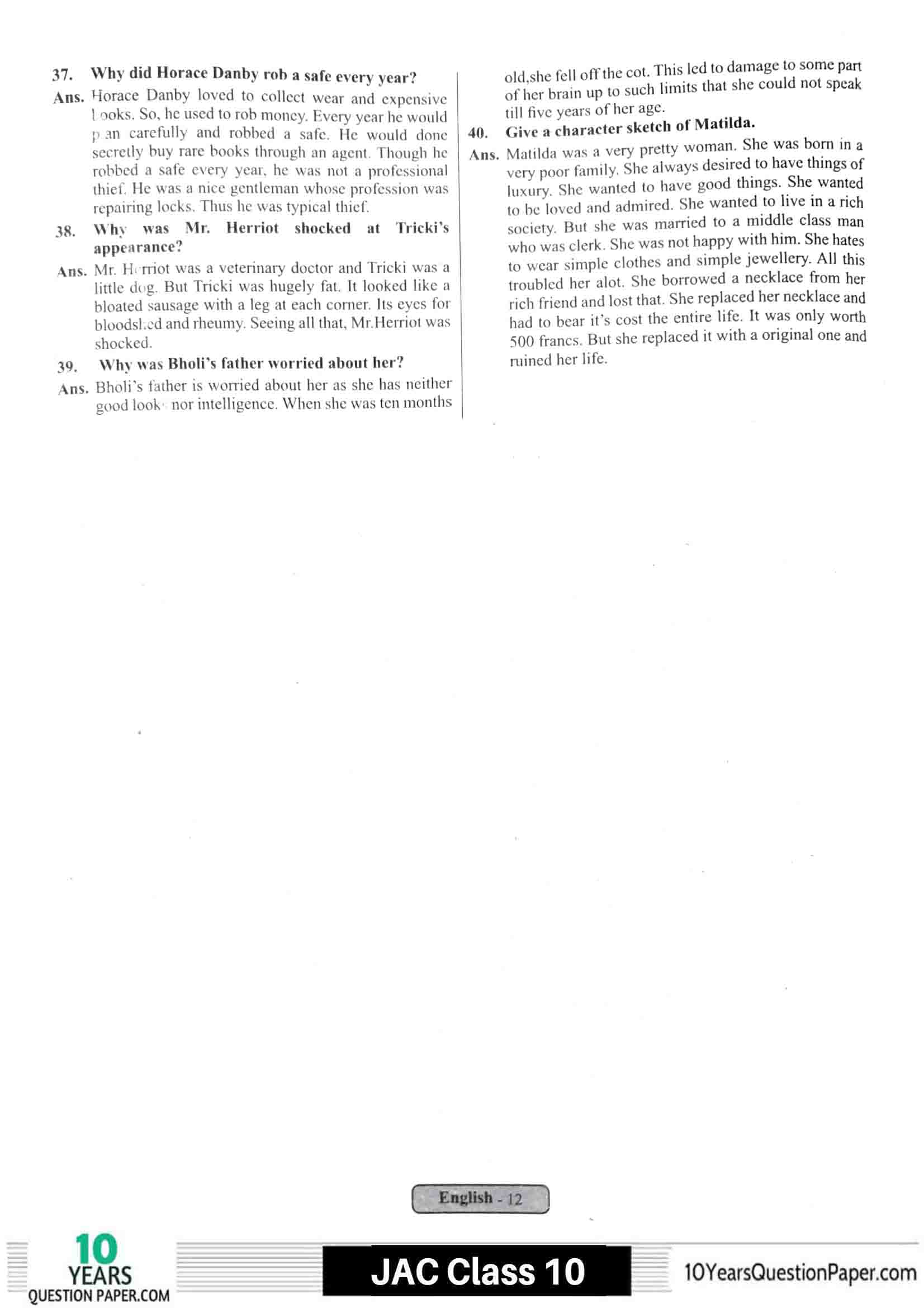 JAC class 10 english 2021 solved sample paper 12