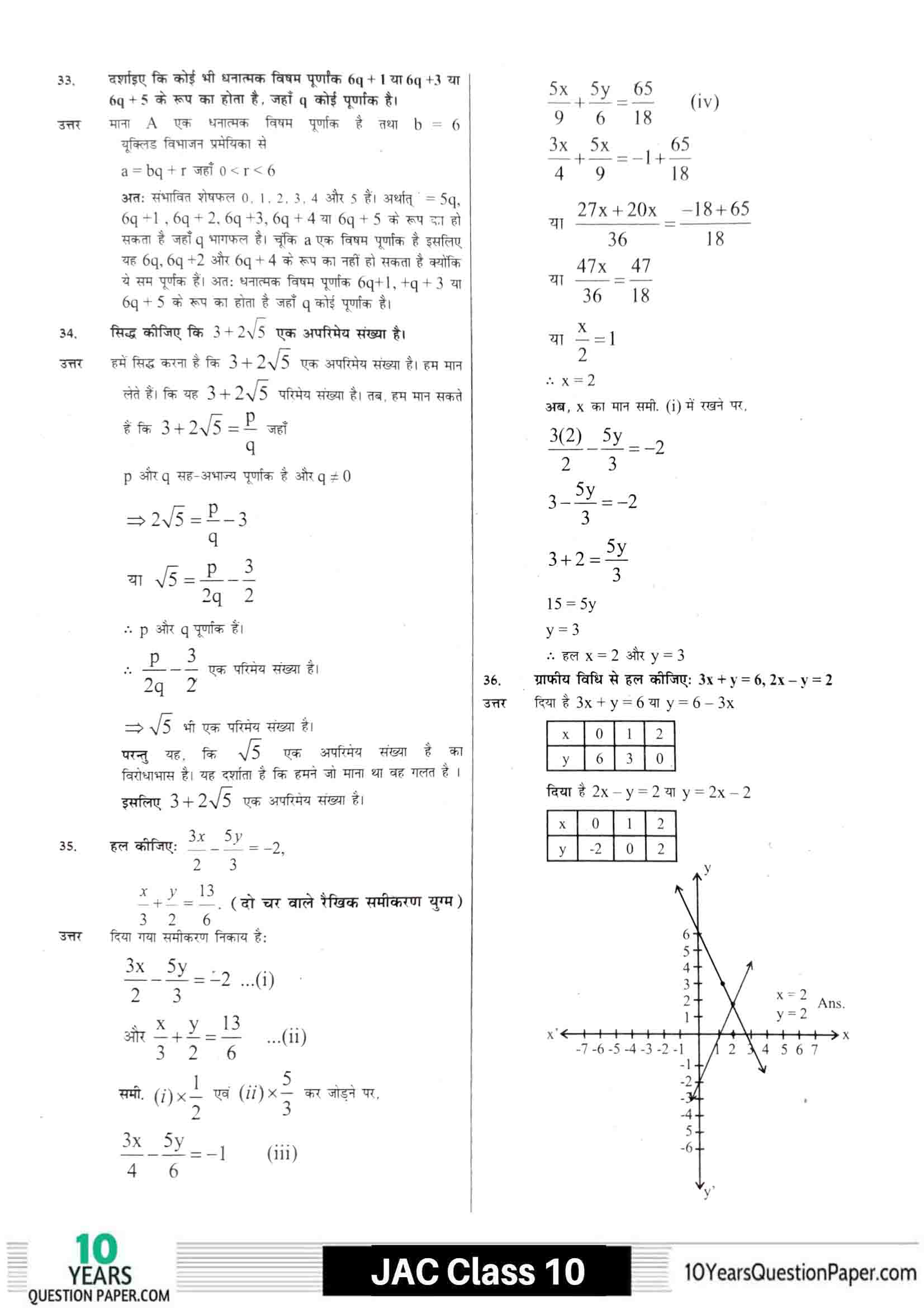 JAC class 10 math 2021 solved sample paper 13