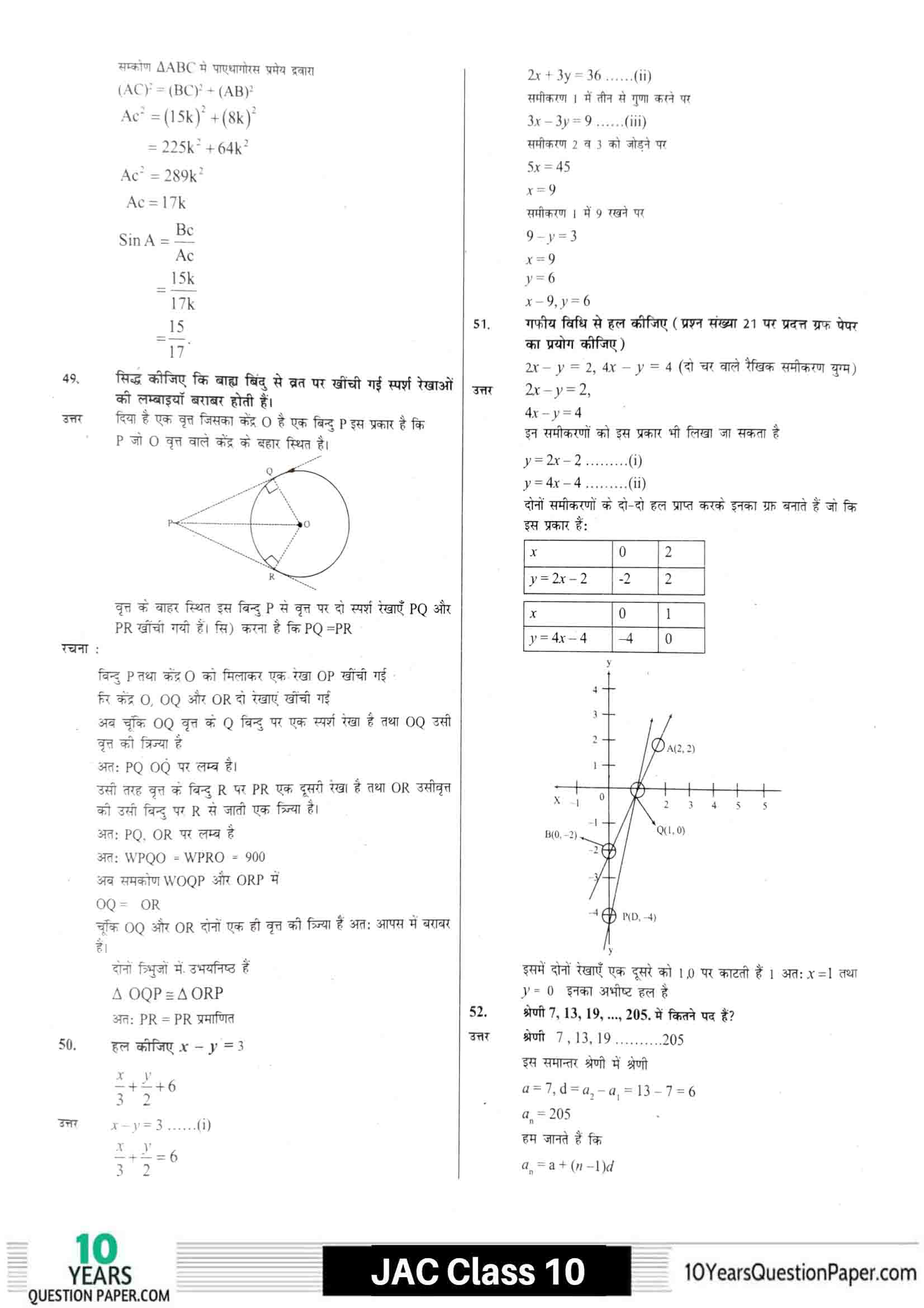 JAC class 10 math 2021 solved sample paper 16
