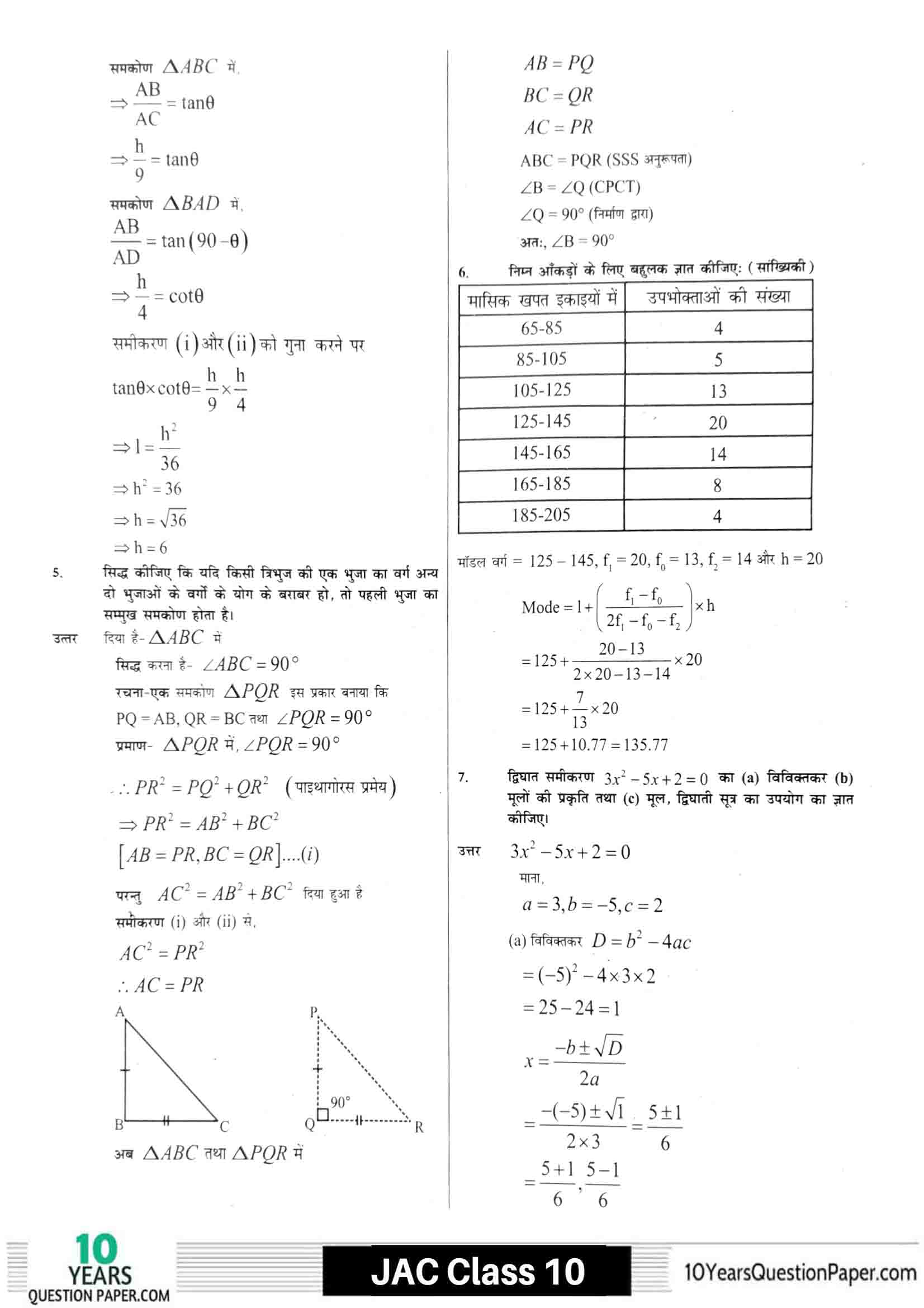 JAC class 10 math 2021 solved sample paper 19