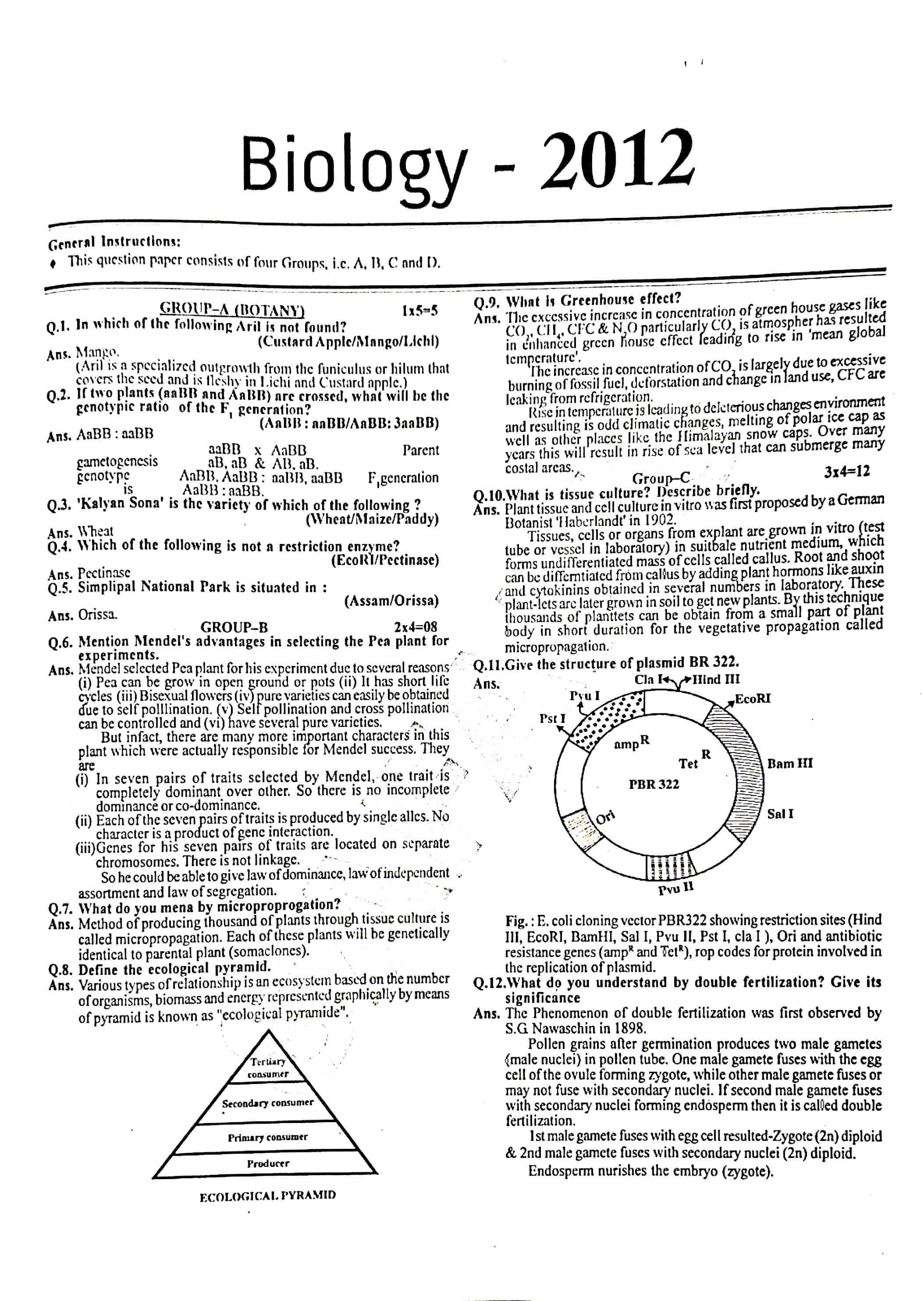 JAC Class 12 biology 2012 Question Paper 01