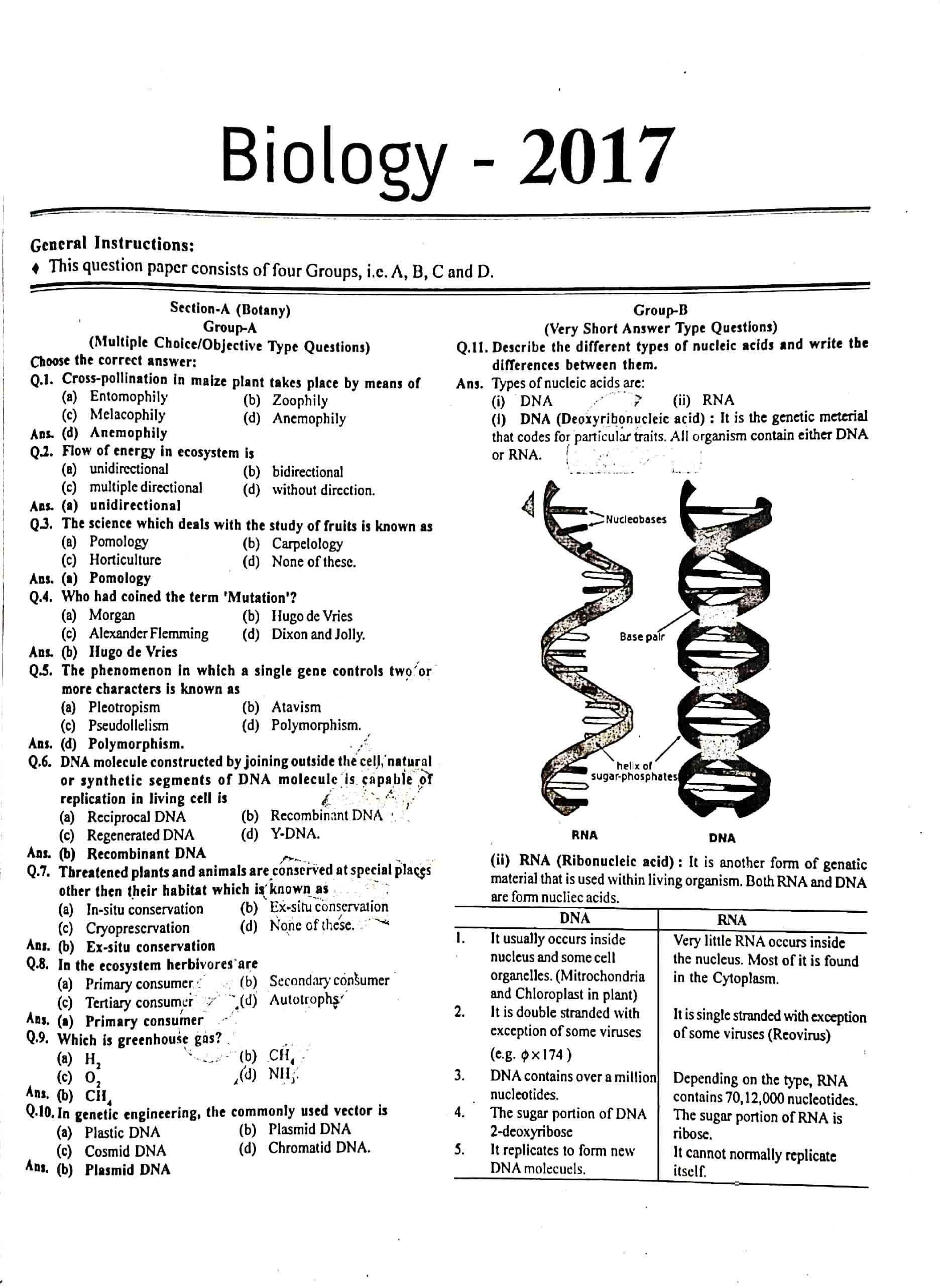 JAC Class 12 biology 2017 Question Paper 01