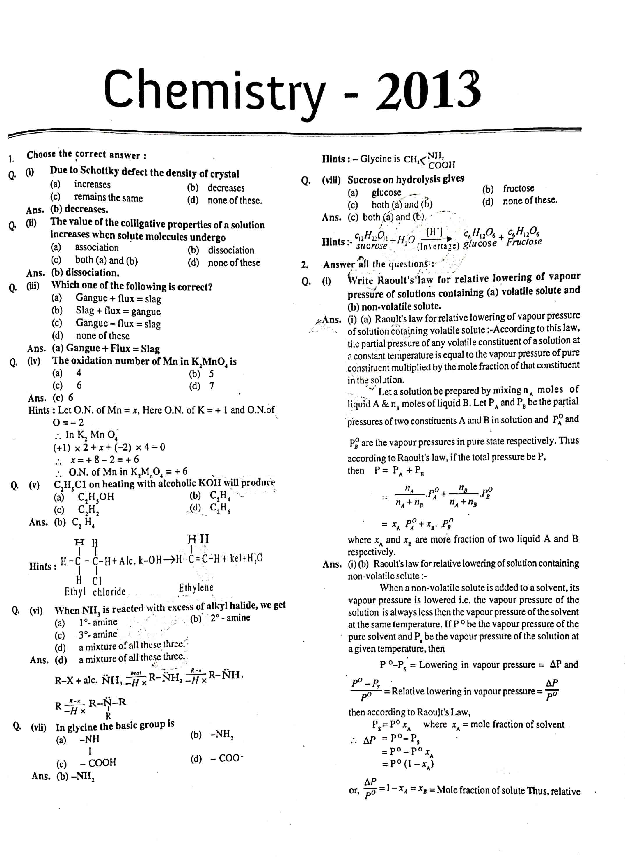 JAC Class 12 chemistry 2013 Question Paper 01