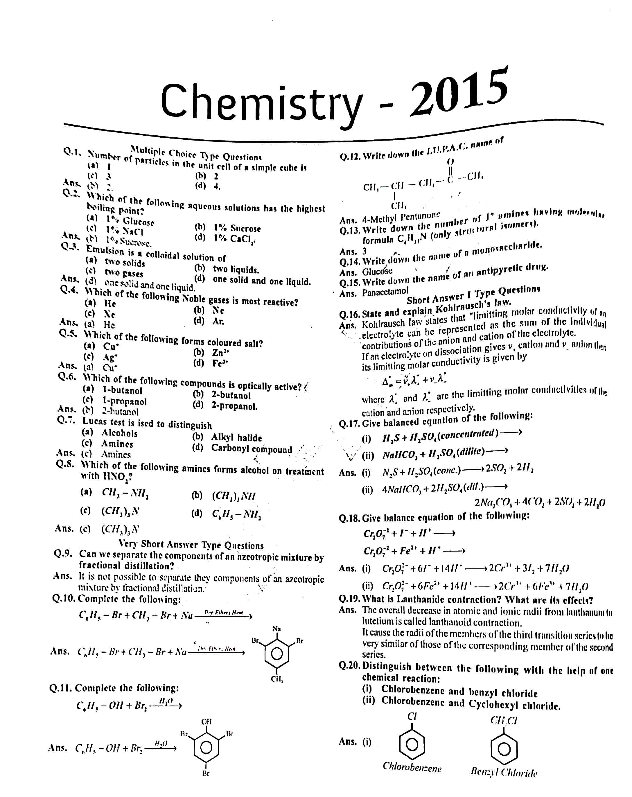 JAC Class 12 chemistry 2015 Question Paper 01