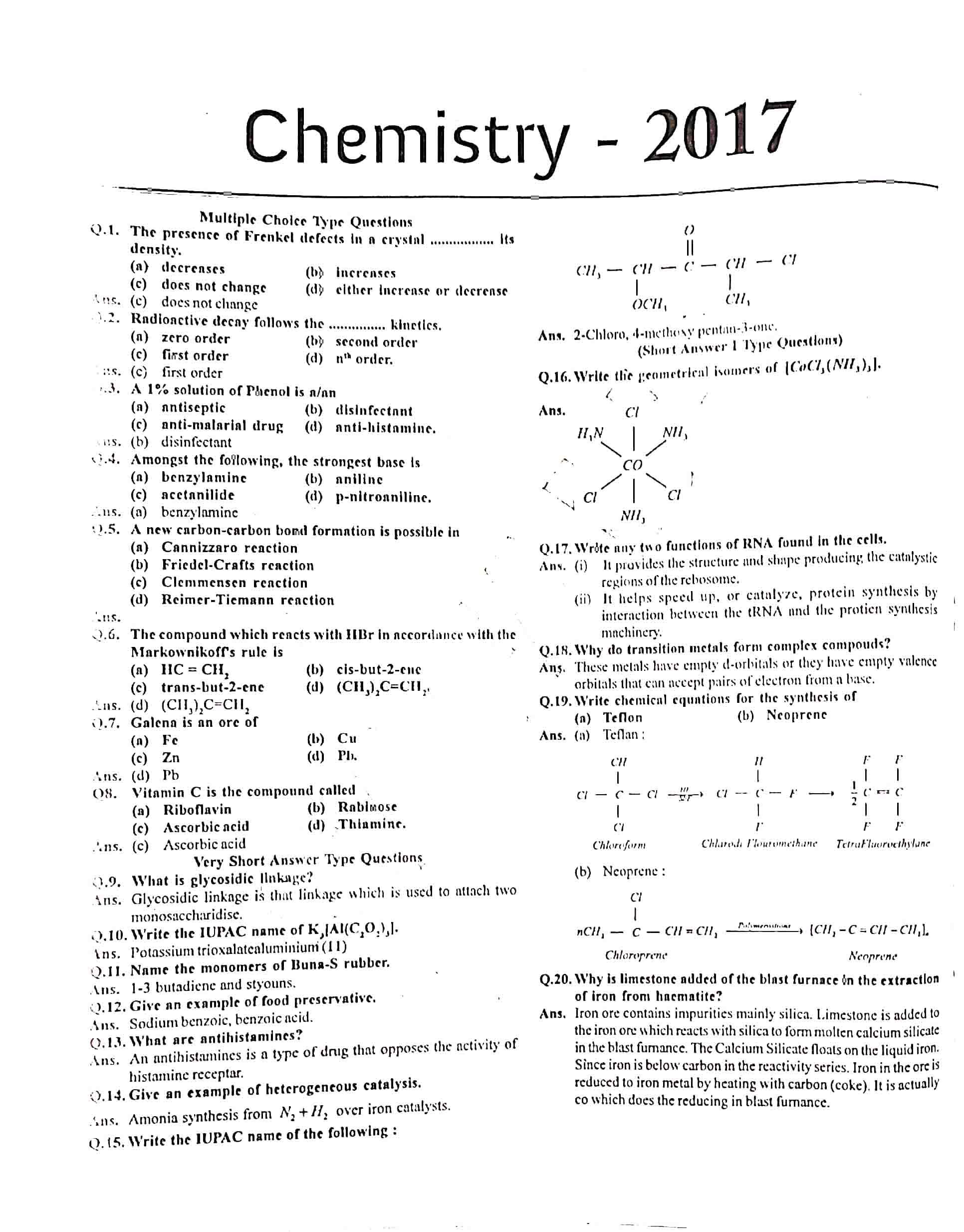 JAC Class 12 chemistry 2017 Question Paper 01