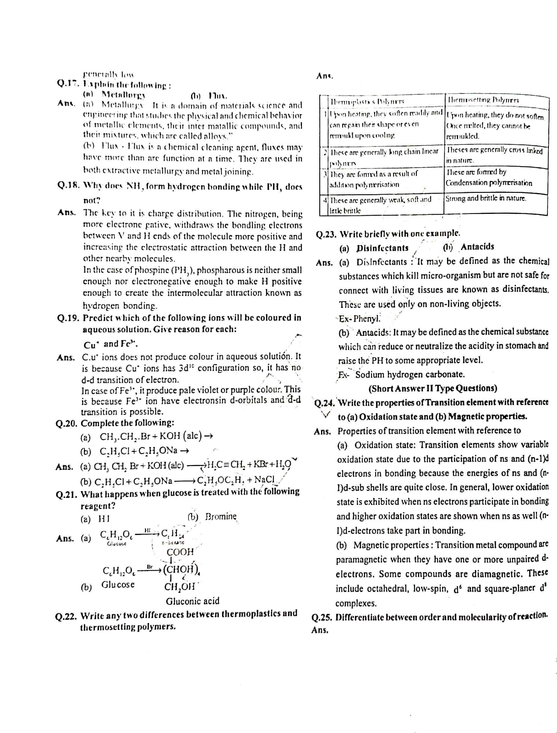 JAC Class 12 chemistry 2018 Question Paper 02