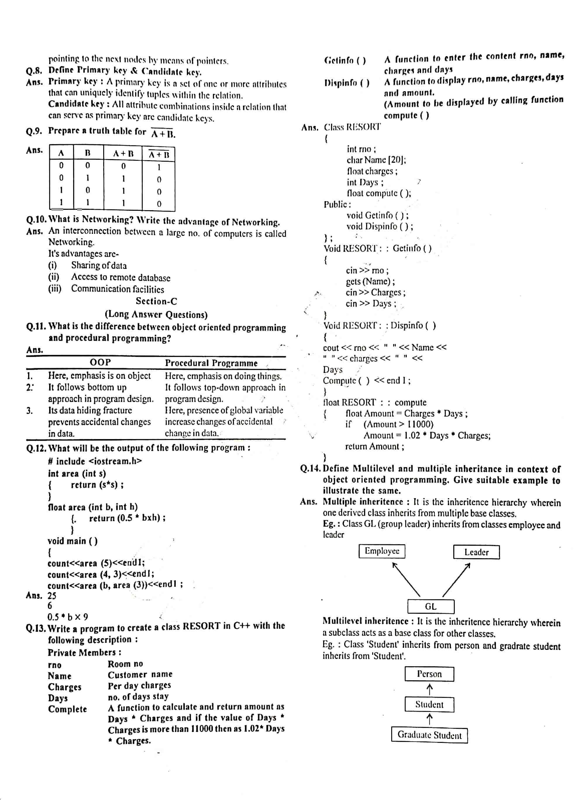 JAC Class 12 Computer Science 2016 Question Paper 02