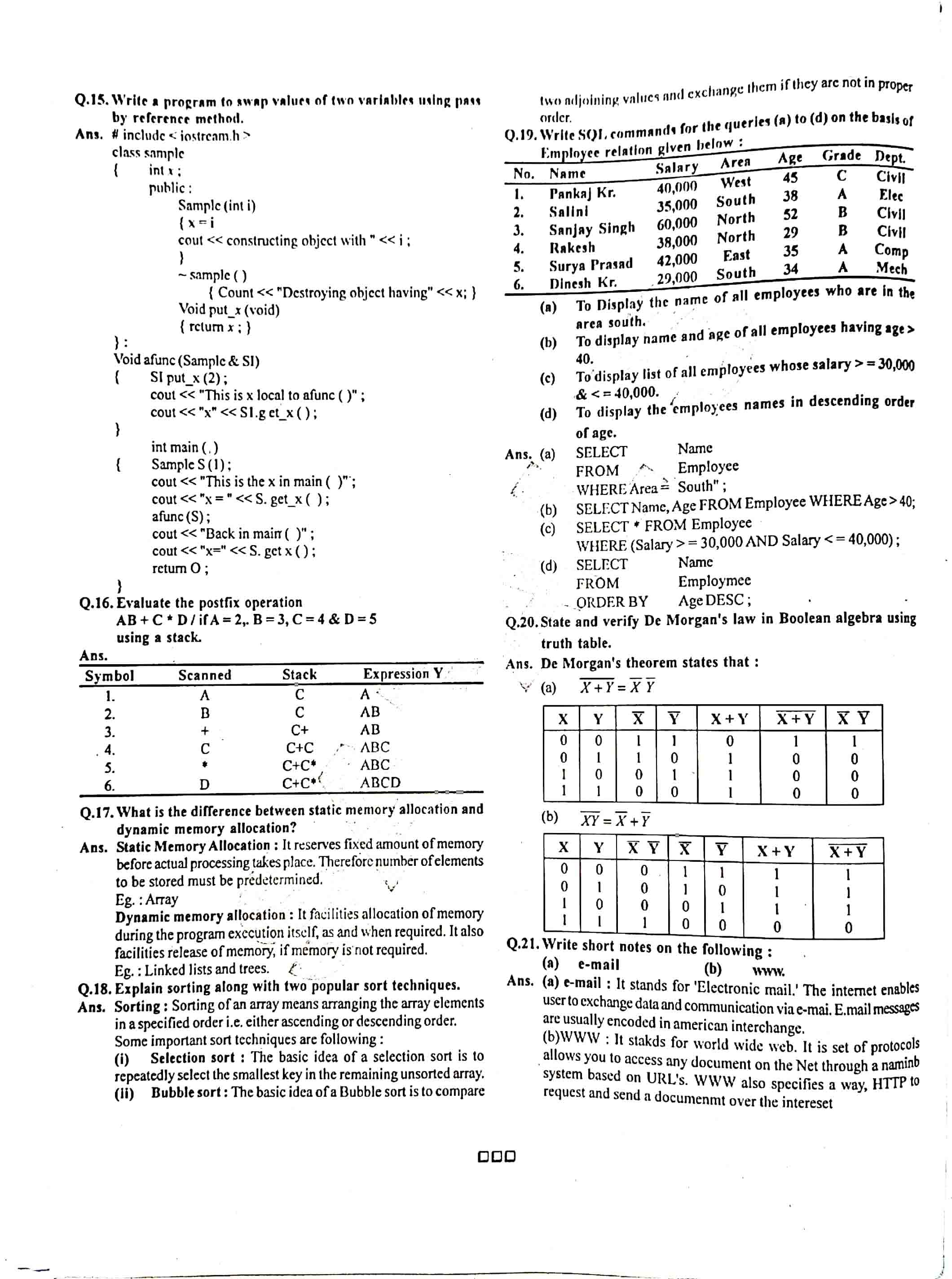 JAC Class 12 Computer Science 2016 Question Paper 03