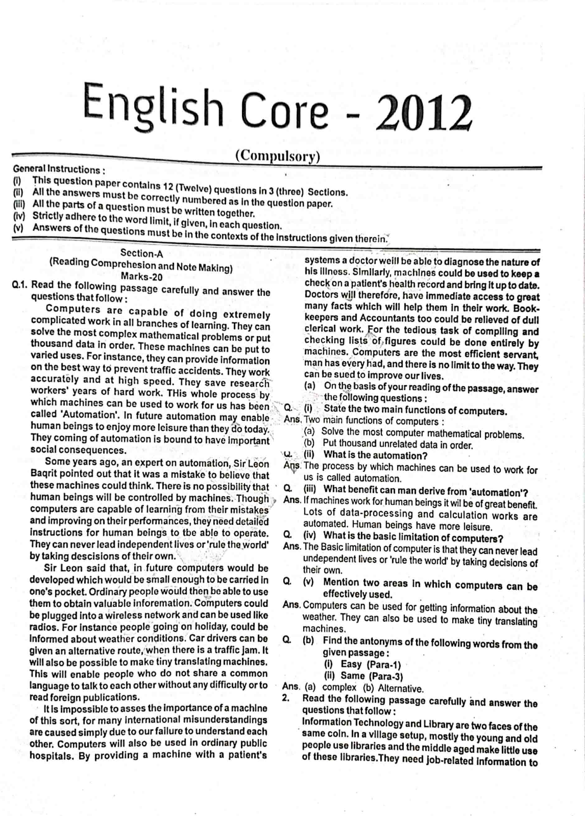 JAC Class 12 english-core 2012 Question Paper 01