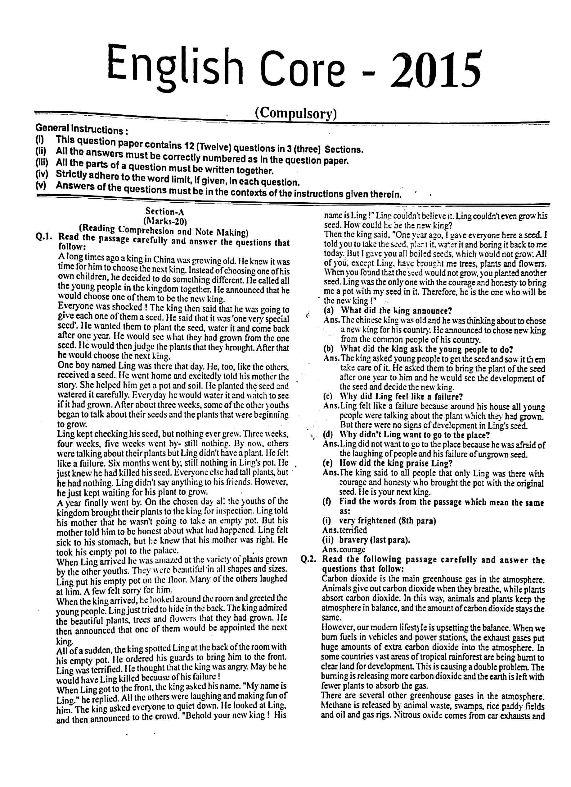 JAC Class 12 english-core 2015 Question Paper 01