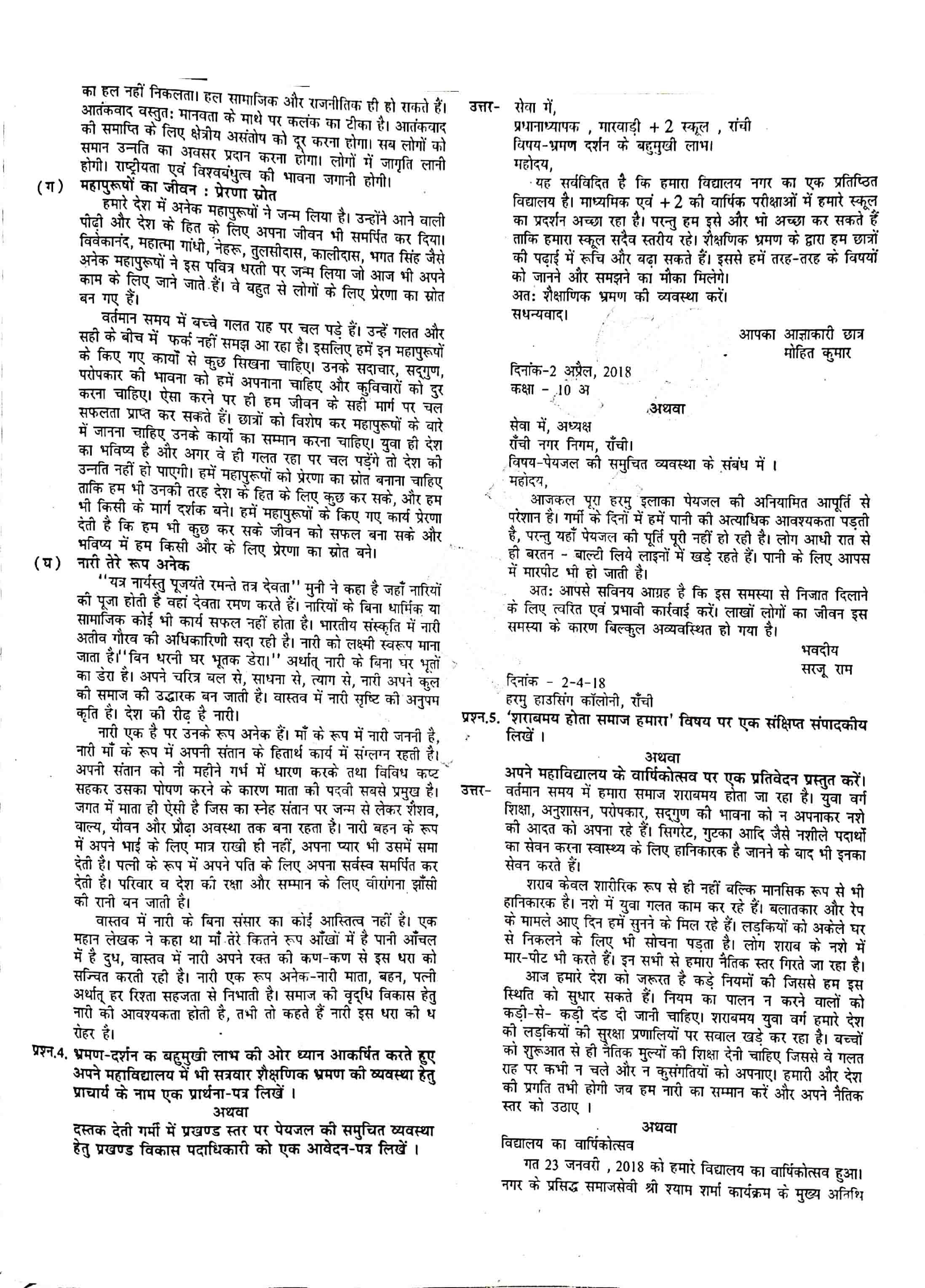 JAC Class 12 hindi 2018 Question Paper 02