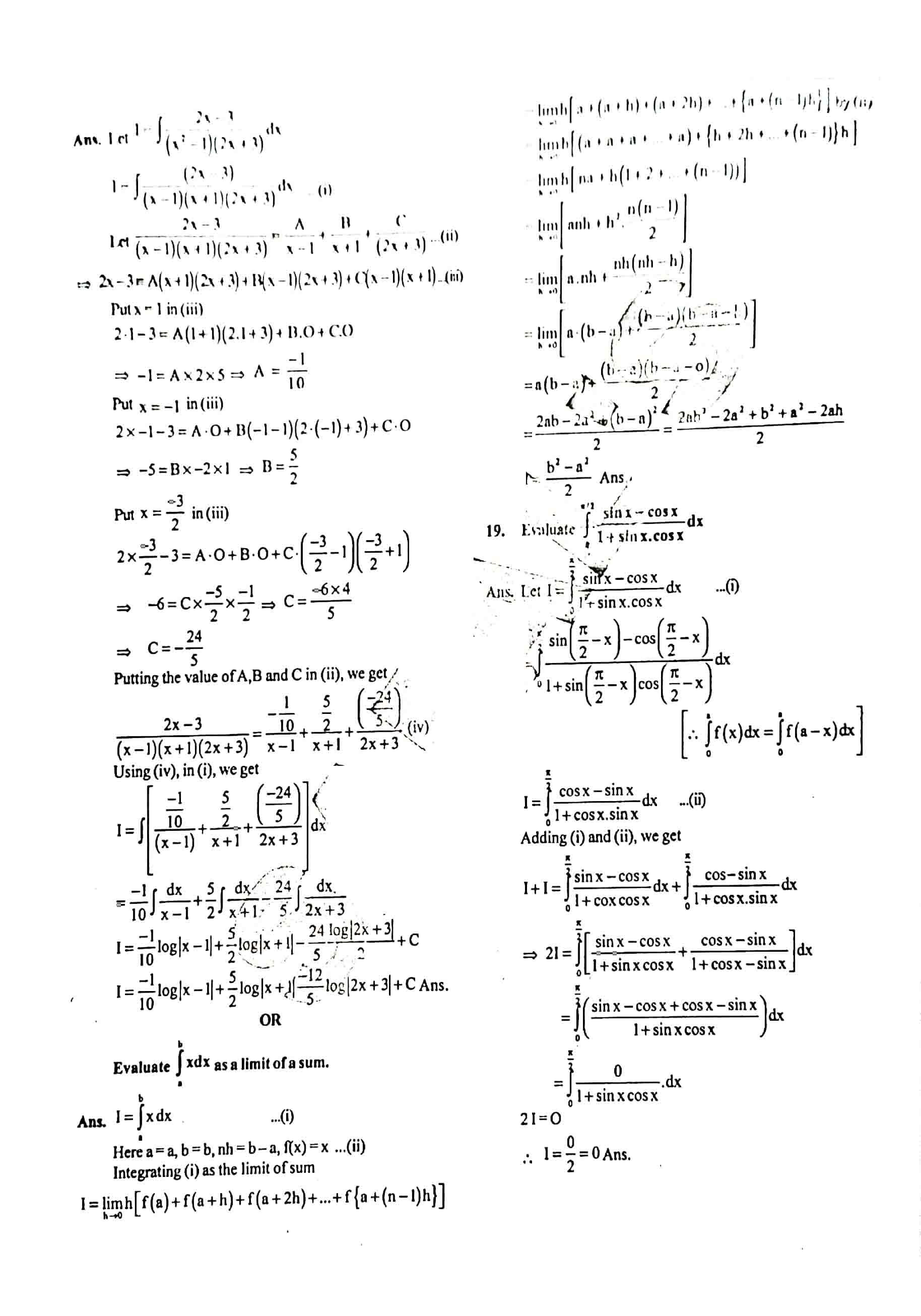 JAC Class 12 math 2020 Question Paper 05