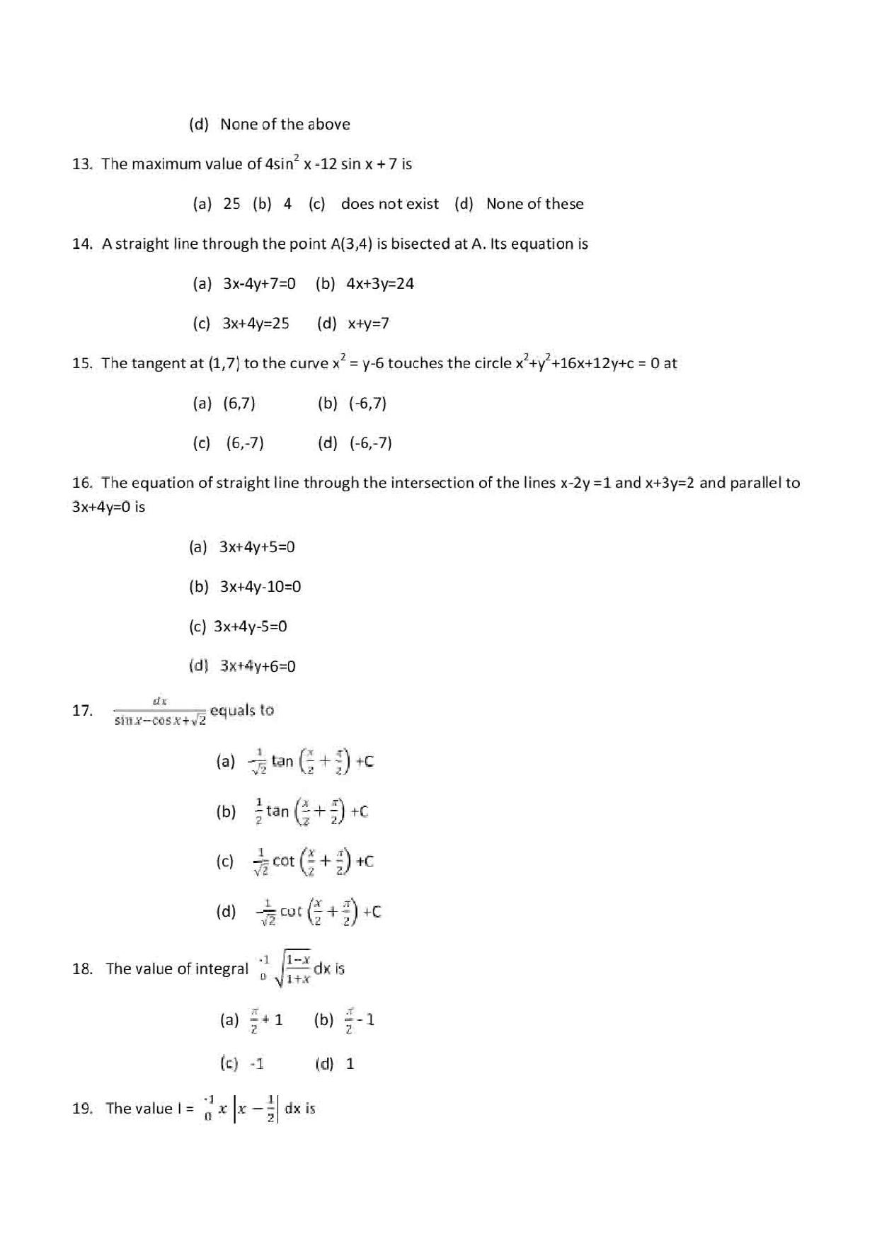 VITEEE 2019 Maths Question Paper with Answer Key