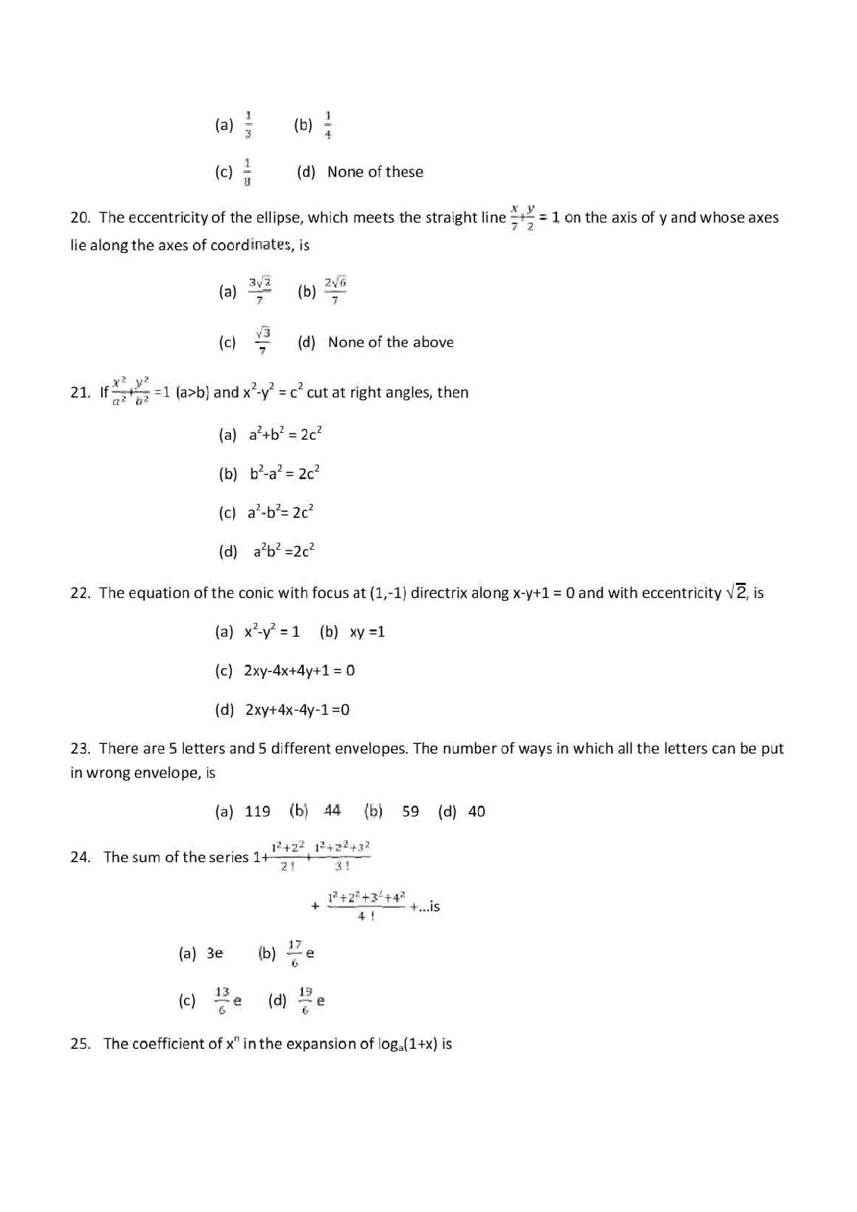 VITEEE Mathematics 2019 Question Paper