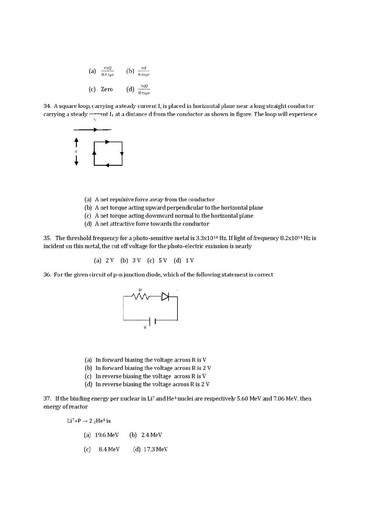 VITEEE physics 2019 Question Paper